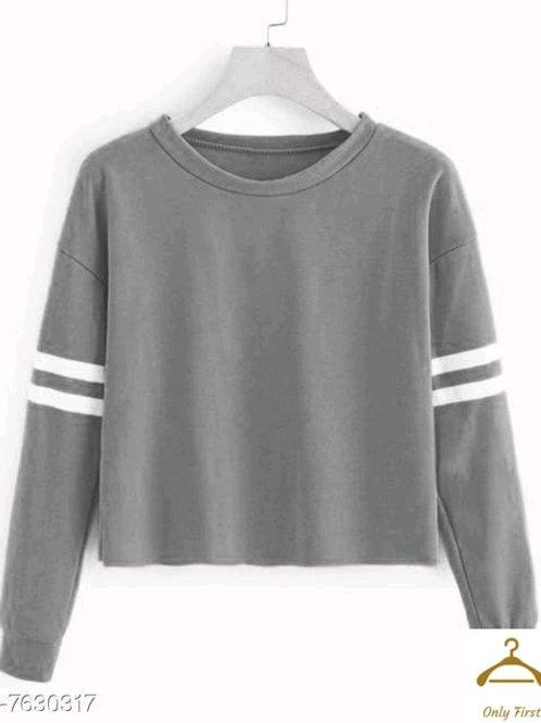 Classic Glamorous Women Tshirts Grey