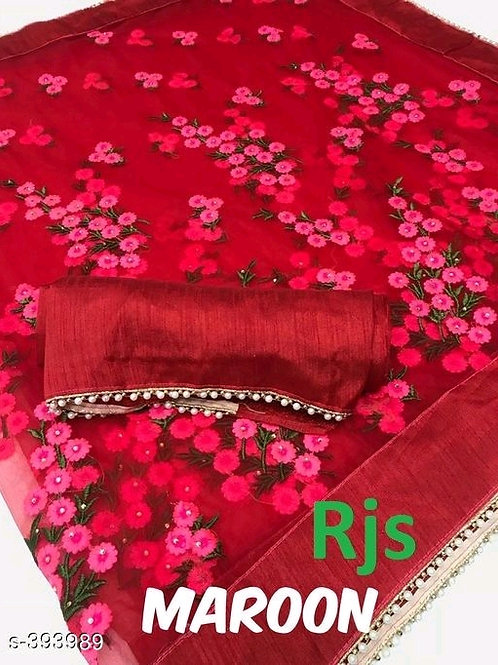 Anvitha Red Embroidered Net Sarees with Lace borderVOL3