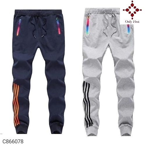 Blue & White Polyknit Solid Slim Fit Track Pants( Buy 1 Get 1 Free )