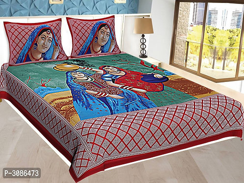 *Comfortable Multicoloured Cotton Abstract Double Bedsheet