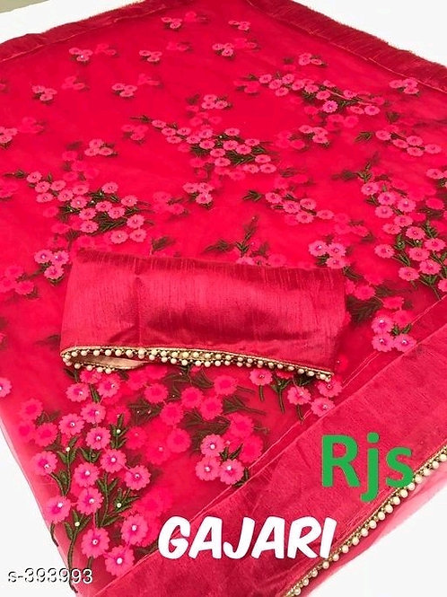 Anvitha Red Embroidered Net Sarees with Lace borderVOL1