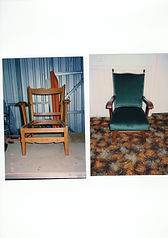 Antique Chair Reupholstered In Green Velvet Before and After Images