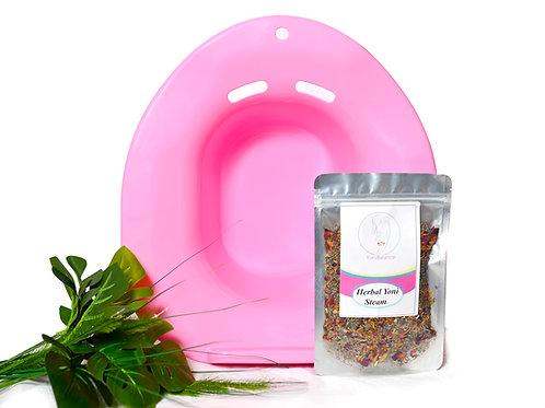 Yoni Starter Kit(Herbal Yoni Steam 2 Oz) & Vaginal Steaming Seat