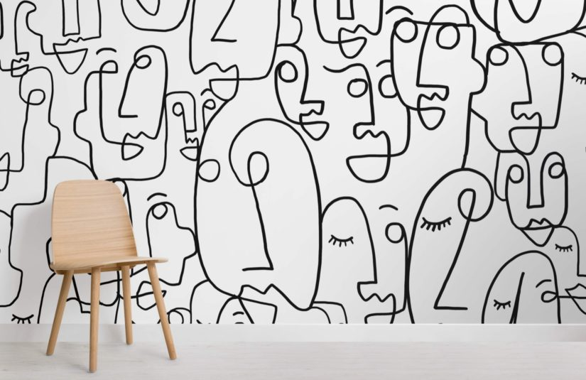 Large Face Doodles Wallpaper