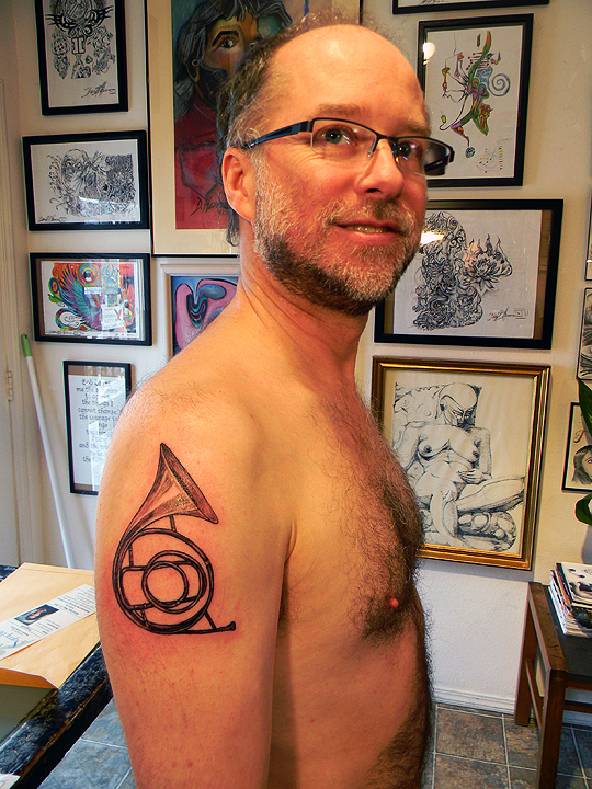 Client sporting his new art.
