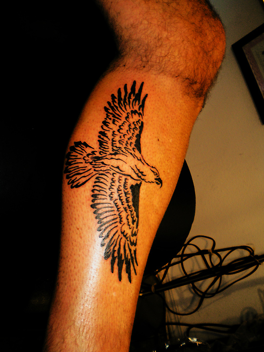 Big Tribal Eagle on calf.