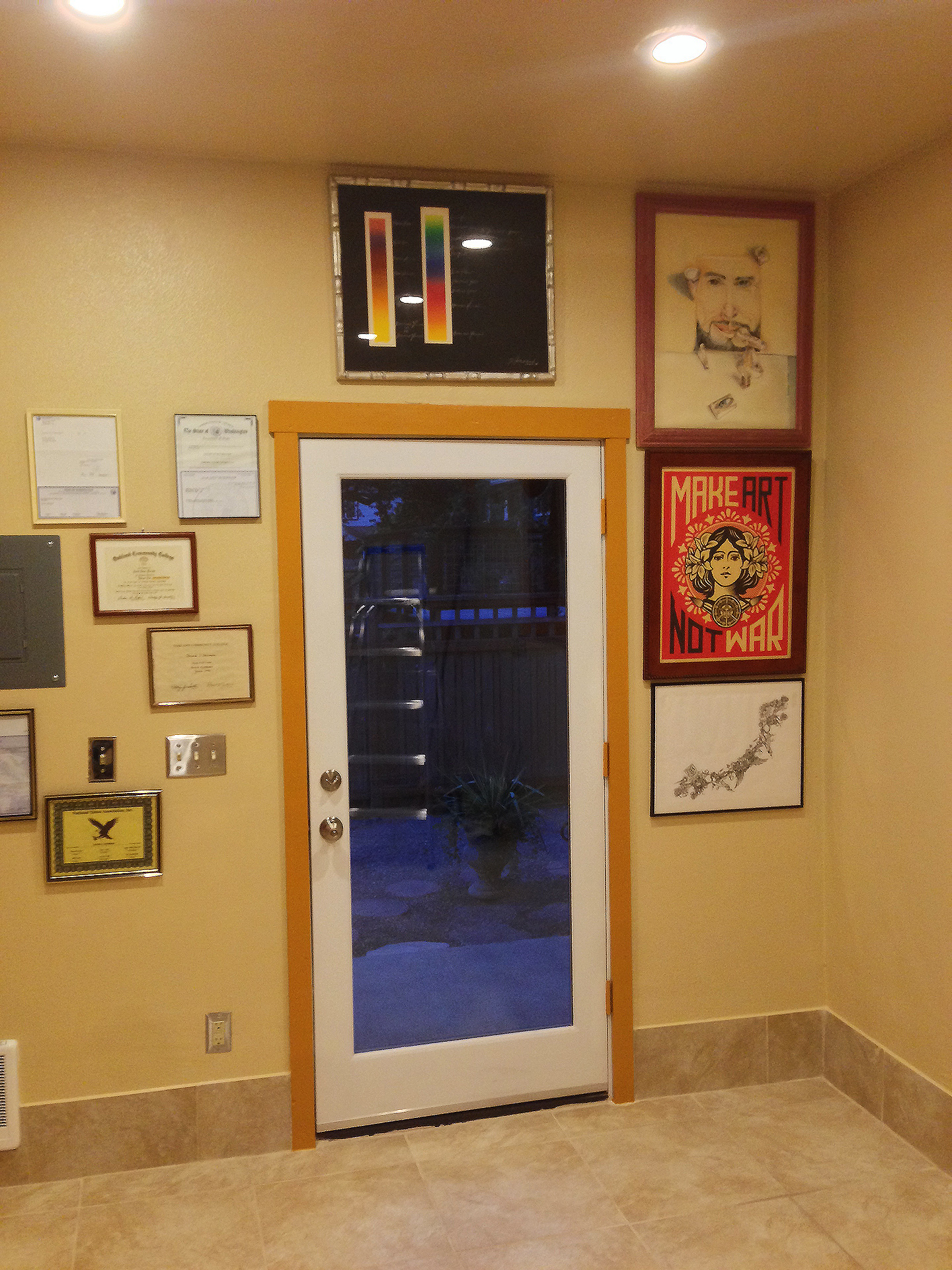 Framing entrance in artwork.