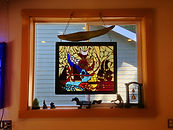 "Stained Glass abstracht window by an Olympia Washington tattoo artist, David Herman known as ""Doz""."