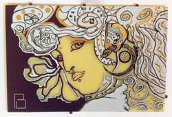 mucha inspired art 4 x 6 inch PCB board