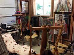 Far left corner of studio gallery.