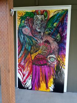 barn door painting to slider of shop