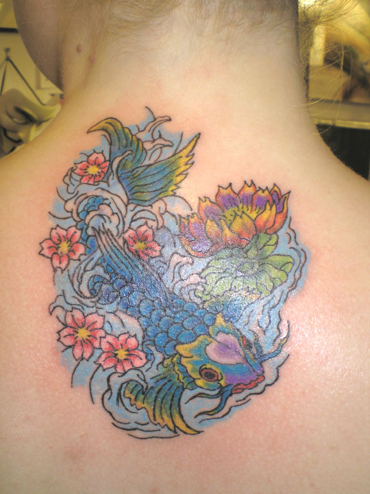 Koi and Lotus cover up tattoo.
