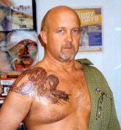 Outline of full dragon tattoo.