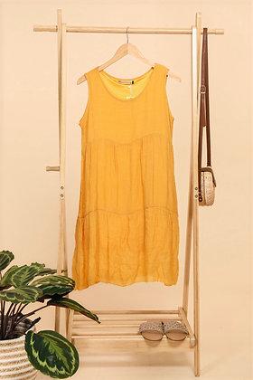 Robe sans manche moutarde