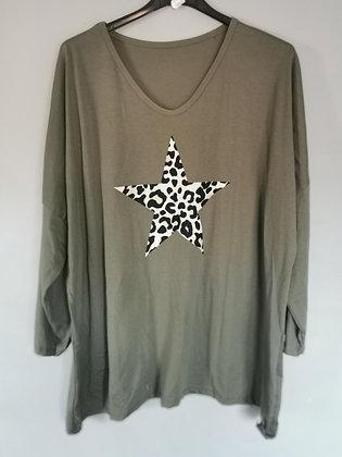 """T-shirt longues manches etoile """"léopard"""""""