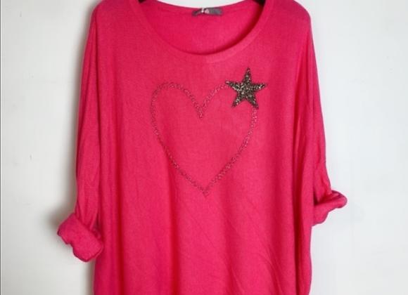 Pull coeur étoile