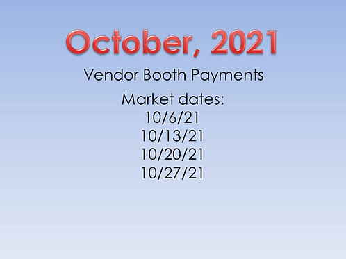 October 2021 Vendor Booth Payment