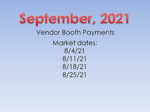 September, 2021 - Vendor Booth Payment