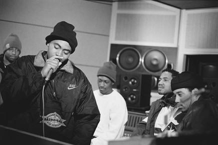 Nas in the studio during recording sessi