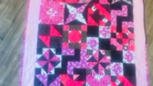 Pink * and Black Scrappy Throw Quilt