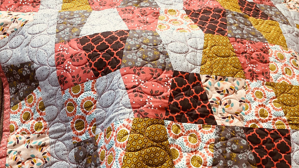 Coral and Gray Baby Quilt