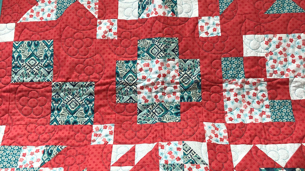 Coral and Aqua Baby Quilt