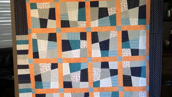 Wonky 9 Patch Teal and Gray