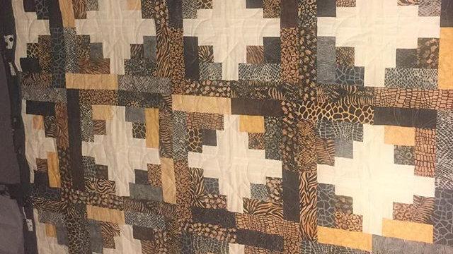 Animal Print Log Cabin Quilt