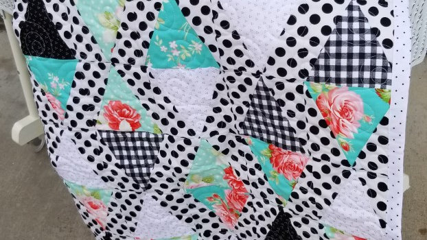Black and white with mint quilt