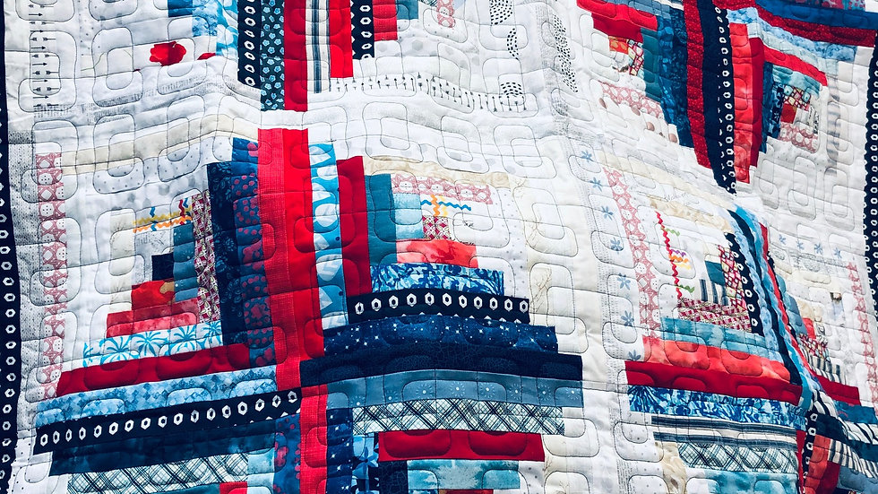 NEW! Red White and Blue Log Cabin