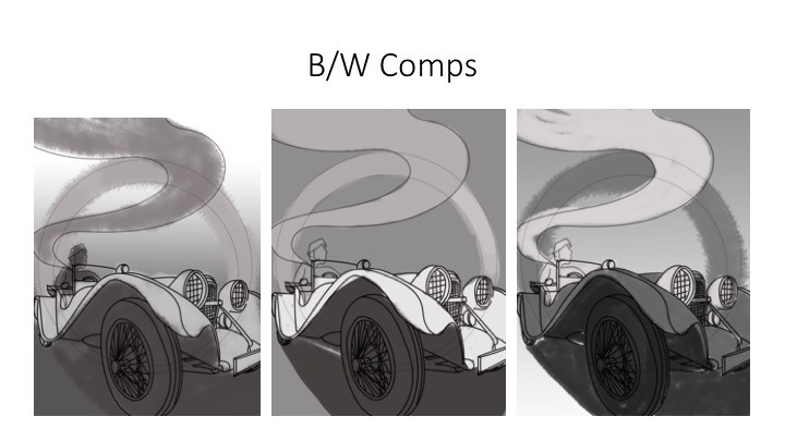 black and white comps