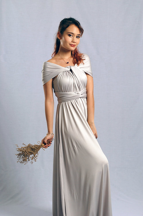 Convertible Dress - Light Silver Grey