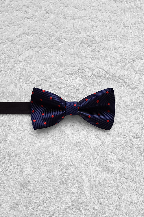 Navy Red Dotted Bow Tie