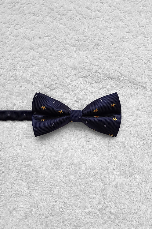 Navy Gold Dog Bow Tie