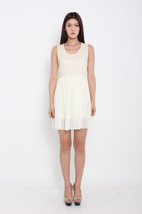 Sweet Chiffon Glitter Dress in Vanilla