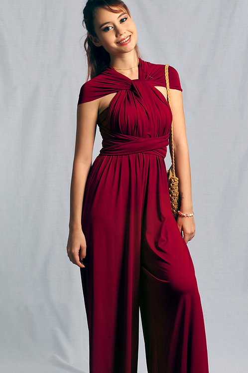 Convertible Jumpsuit - Burgundy