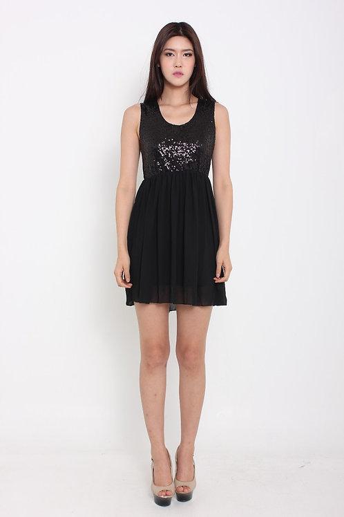 Sweet Chiffon Glitter Dress in Black