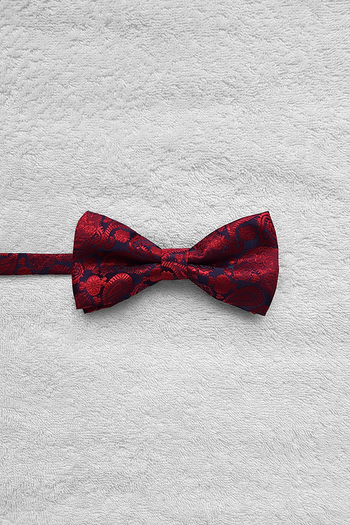 Navy Red Abstract Bow Tie