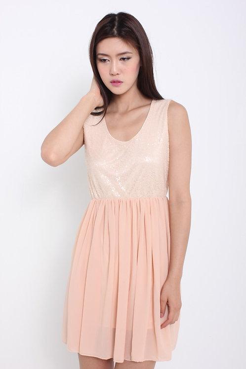 Sweet Chiffon Glitter Dress in Love Tinge