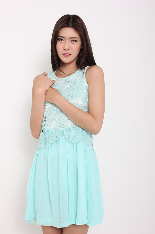 Tiffany Blue Crochet Chiffon Dress