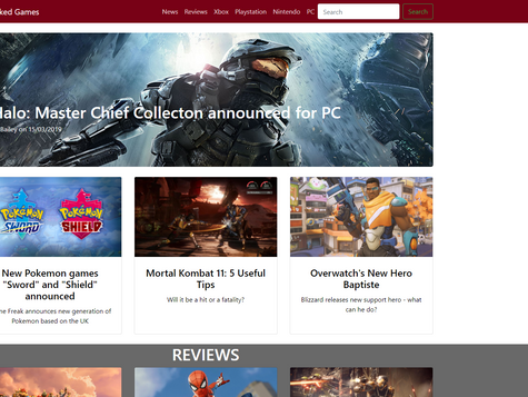 Game Journalist Webpage Design Part 4 - Final Product