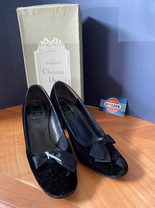 Souliers vintages en velours noir Christian Dior + boite T: 39