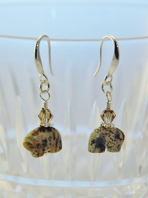 Sterling Silver Silver Leaf Jasper & Austrian Crystal Earrings