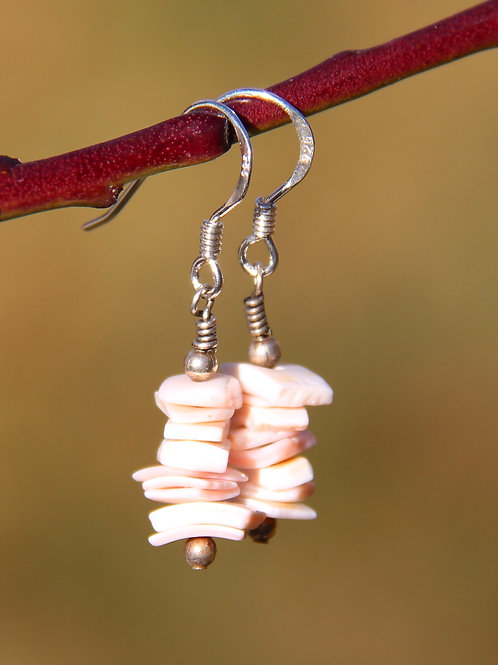 Pink Puka Shell Chip Earrings