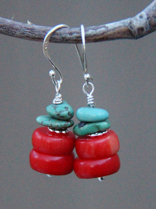 Red Bamboo Coral and Turquoise w/ Sterling Silver Fishhook Ear Wires