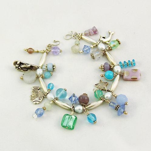 Pastel Green Aqua Pink Lavender Silver Charm Bracelet