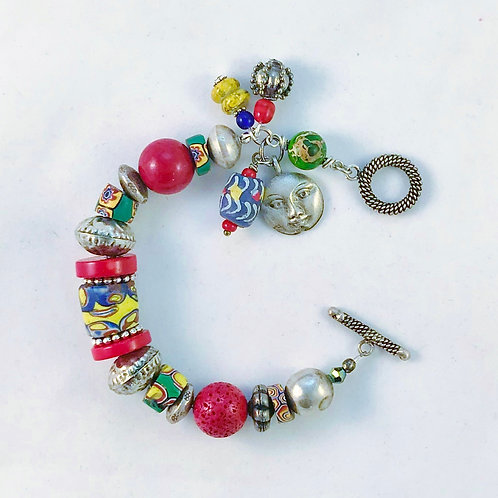Colorful Chunky Trade Bead Bracelet