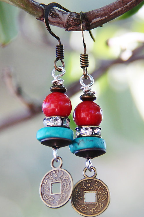 Turquoise, Red Coral, & Copper Coin Earrings
