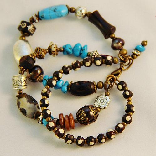 Turquoise Magnesite Bone Brass Silver Bracelet