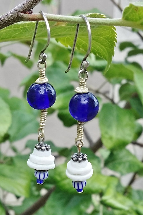 Cobalt Blue & White Puka Shell Dangle Earrings